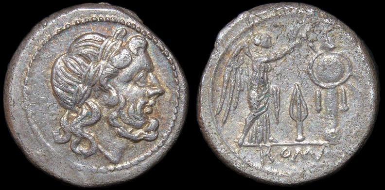 "Cr. 83/1a Anonymous ""Spearhead-up"" Victoriatus, 211-210 BC, Southeast Italian mint"