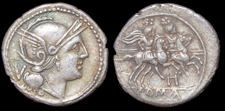 "Cr. 85/1a Anonymous ""H"" series quinarius, 211-210 B.C., Apulian mint"