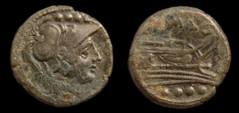 Cf. Cr 56/4 anonymous Æ triens, overstruck on unknown type, after 211 BC