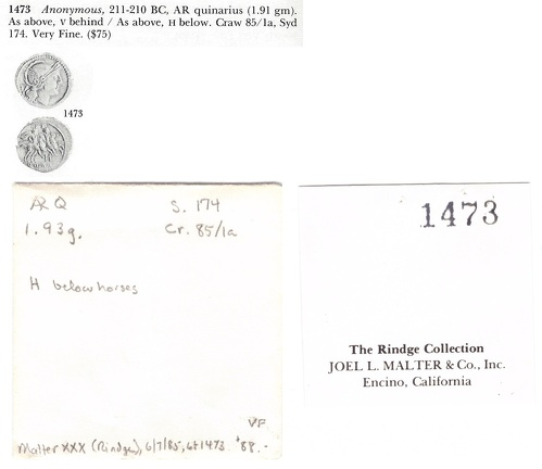 Cr. 85/1a RBW envelope, Malter XXX tag and Malter XXX lot 1473 scan
