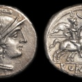 "Cr. 57/2 Anonymous ""crescent"" series denarius, circa 207 B.C."