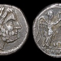 "Cr. 93/1a ""MP""(Metapontum?) series Victoriatus, 211-208 B.C., uncertain mint"