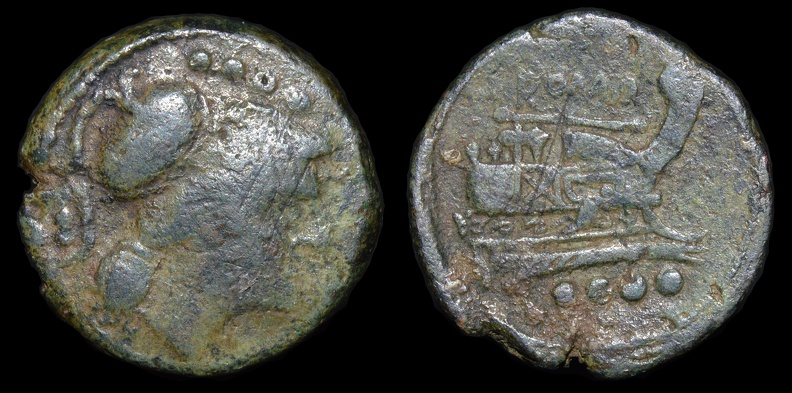 "Cr. 106/6b Anonymous ""staff and club"" series Æ Triens, club on obverse variety, 209-208 B.C., Etrurian mint"