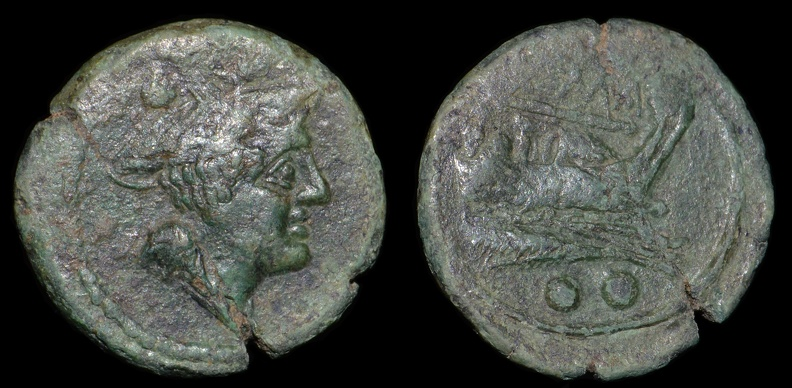 "Cr. 106/8a Anonymous ""staff and club"" series Æ sextans, 209-208 B.C., Etrurian mint"