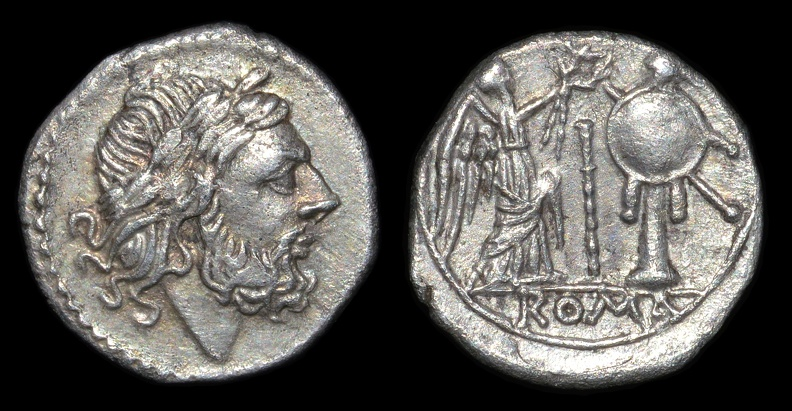 "Cr. 106/1 Anonymous ""staff and club"" series AR victoriatus, 209-208 B.C., Etrurian mint"