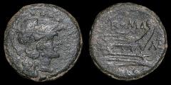 "Cr. 162/5b ""MAT"" series with slender letters Æ Triens, Rome mint, 179-170 B.C."