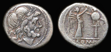 Cr. 92/1b Anonymous victoriatus, 211-208 B.C., Uncertain mint(traditionally, Croton)
