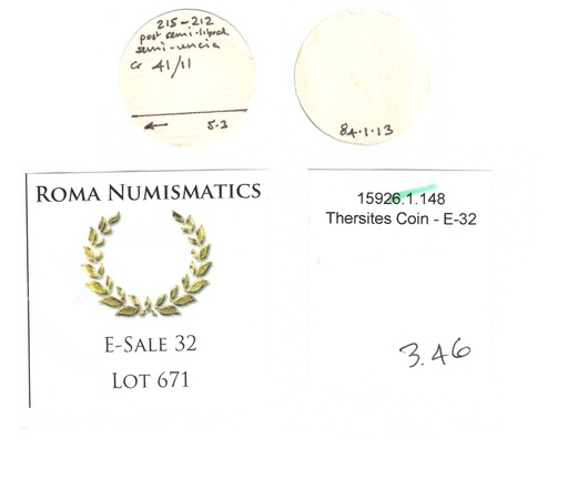 Cr. 41/11 Thersites collection and Roma e-sale 32 tags
