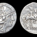 Cr. 75/1c Anonymous denarius, related to C AL series, Sicilian mint, 209-208 B.C.
