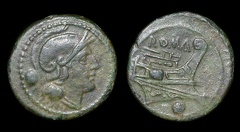 Cr. 41/10 Anonymous post-semilibral uncia, dolphins at keel, 215-212 BC, Rome mint