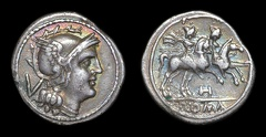 "Cr. 85/1a anonymous ""H"" series AR quinarius, later style, 212-196 B.C., Apulian mint"