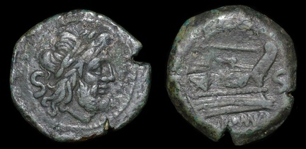 Cr. 112/4 staff series Æ Semis, 206-195 B.C. Rome mint