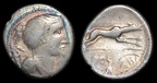 Freeman 24, cf. Cr 394/1a, Eraviscan imitation of denarius of C Postumius, circa 50-20 B.C.