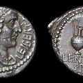 Cr. 500/5 Cassius with Lentulus Spinther AR Denarius, late 43-early 42 B.C., military mint(Smyrna?)