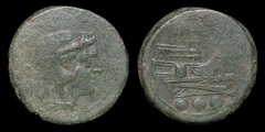 Cr. 41/8b Anon post-semilibral Æ quadrans, 215-212 B.C., Rome mint