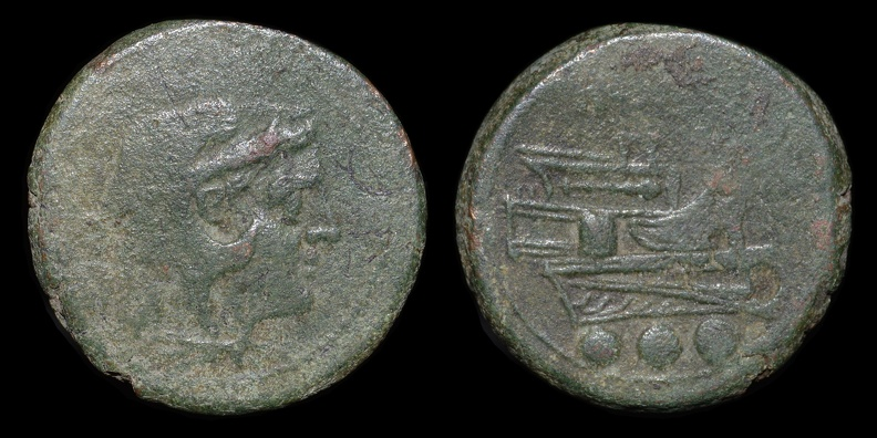 Cr. 41/8b McCabe A1 Anon post-semilibral Æ quadrans, 215-212 B.C., Rome mint