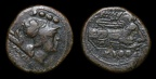 "Cr. 100/3 ""CA"" series triens, 209-195 BC, Canusium mint. Overstruck on Oiniadai"
