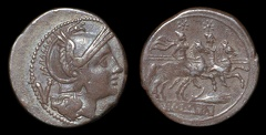 Cr. 72/4 grain-ear/corn-ear series AR quinarius, 211-210 B.C., Sicilian mint
