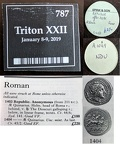 Cr. 45/2 Triton XXII lot 787 tag & Spink tray tag