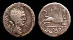 Plated hybrid denarius, cf. Cr. 391/3 and 384/1
